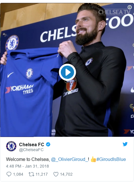Twitter post by @ChelseaFC: Welcome to Chelsea, @_OlivierGiroud_! 👍#GiroudIsBlue
