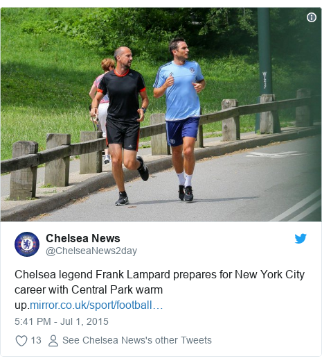 Twitter post by @ChelseaNews2day: Chelsea legend Frank Lampard prepares for New York City career with Central Park warm up.