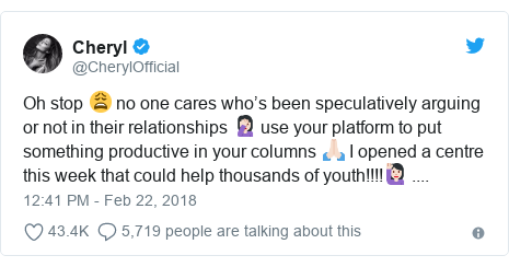 Twitter post by @CherylOfficial: Oh stop 😩 no one cares who's been speculatively arguing or not in their relationships 🤦🏻♀️ use your platform to put something productive in your columns 🙏🏻 I opened a centre this week that could help thousands of youth!!!!🙋🏻♀️ ....
