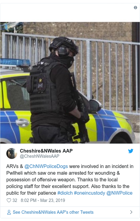 Twitter post by @CheshNWalesAAP: ARVs & @ChNWPoliceDogs were involved in an incident in Pwllheli which saw one male arrested for wounding & possession of offensive weapon. Thanks to the local policing staff for their excellent support. Also thanks to the public for their patience #diolch #oneincustody @NWPolice
