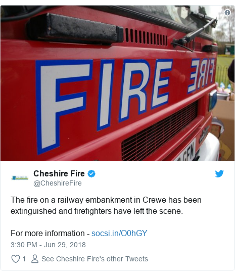 Twitter post by @CheshireFire: The fire on a railway embankment in Crewe has been extinguished and firefighters have left the scene.For more information -