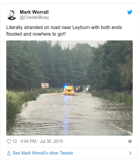 Twitter post by @ChesterBluey: Literally stranded on road near Leyburn with both ends flooded and nowhere to go!!