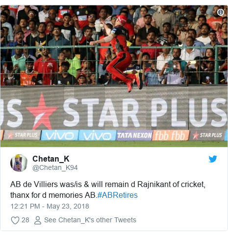 Twitter post by @Chetan_K94: AB de Villiers was/is & will remain d Rajnikant of cricket, thanx for d memories AB.#ABRetires