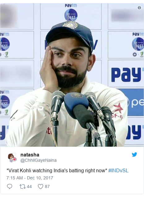 Twitter post by @ChhilGayeNaina: *Virat Kohli watching India's batting right now* #INDvSL
