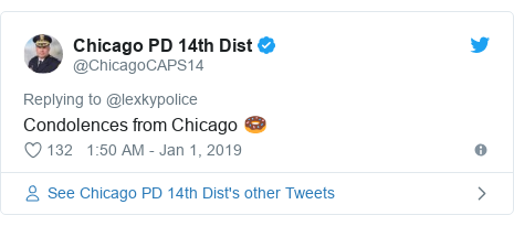 Twitter post by @ChicagoCAPS14: Condolences from Chicago 🍩