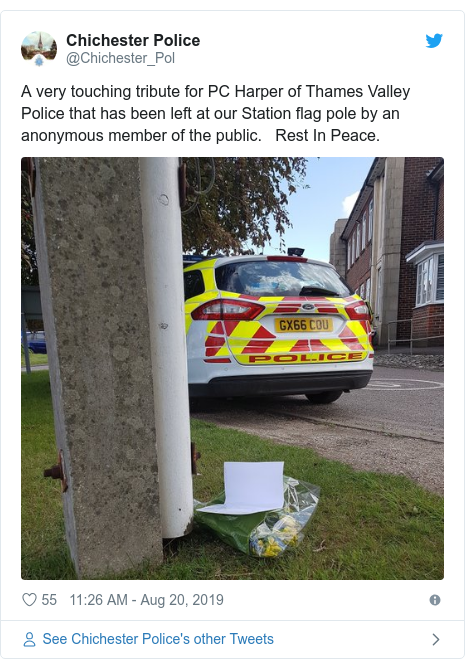 Twitter post by @Chichester_Pol: A very touching tribute for PC Harper of Thames Valley Police that has been left at our Station flag pole by an anonymous member of the public.   Rest In Peace.