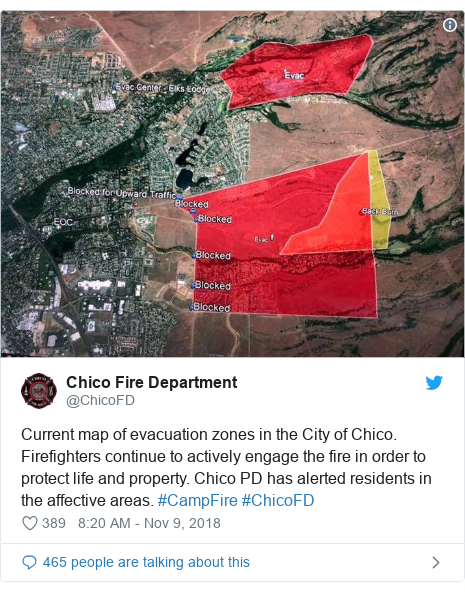 Twitter post by @ChicoFD: Current map of evacuation zones in the City of Chico. Firefighters continue to actively engage the fire in order to protect life and property. Chico PD has alerted residents in the affective areas. #CampFire #ChicoFD