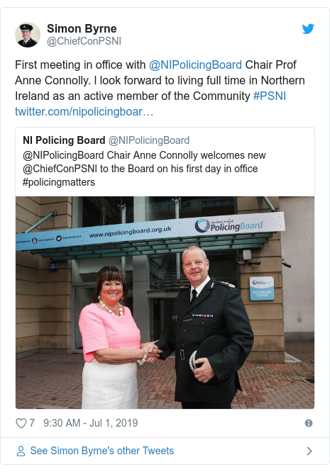 Twitter post by @ChiefConPSNI: First meeting in office with @NIPolicingBoard Chair Prof Anne Connolly. l look forward to living full time in Northern Ireland as an active member of the Community #PSNI