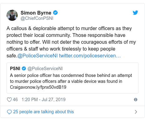 Twitter post by @ChiefConPSNI: A callous & deplorable attempt to murder officers as they protect their local community. Those responsible have nothing to offer. Will not deter the courageous efforts of my officers & staff who work tirelessly to keep people safe.@PoliceServiceNI