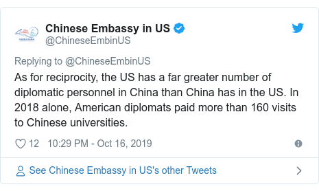Twitter post by @ChineseEmbinUS: As for reciprocity, the US has a far greater number of diplomatic personnel in China than China has in the US. In 2018 alone, American diplomats paid more than 160 visits to Chinese universities.