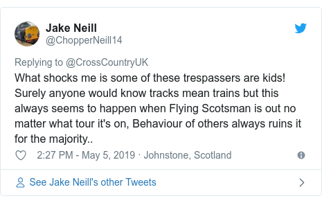 Twitter post by @ChopperNeill14: What shocks me is some of these trespassers are kids! Surely anyone would know tracks mean trains but this always seems to happen when Flying Scotsman is out no matter what tour it's on, Behaviour of others always ruins it for the majority..