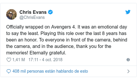 Publicación de Twitter por @ChrisEvans: Officially wrapped on Avengers 4. It was an emotional day to say the least. Playing this role over the last 8 years has been an honor. To everyone in front of the camera, behind the camera, and in the audience, thank you for the memories! Eternally grateful.