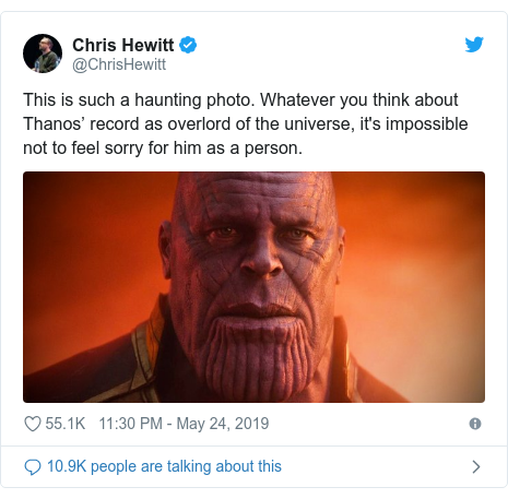 Twitter post by @ChrisHewitt: This is such a haunting photo. Whatever you think about Thanos' record as overlord of the universe, it's impossible not to feel sorry for him as a person.