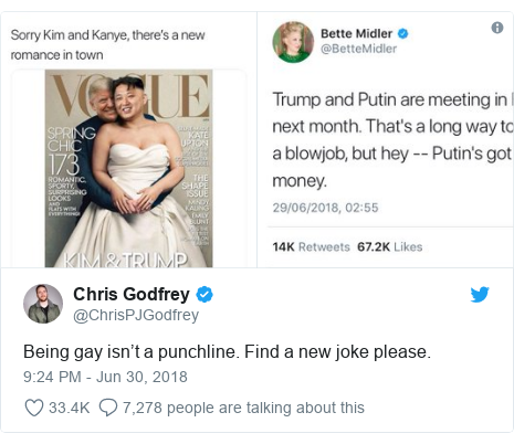 Twitter post by @ChrisPJGodfrey: Being gay isn't a punchline. Find a new joke please.