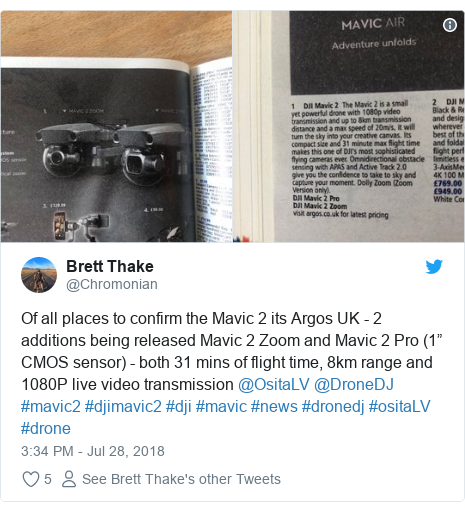 "Twitter post by @Chromonian: Of all places to confirm the Mavic 2 its Argos UK - 2 additions being released Mavic 2 Zoom and Mavic 2 Pro (1"" CMOS sensor) - both 31 mins of flight time, 8km range and 1080P live video transmission @OsitaLV @DroneDJ #mavic2 #djimavic2 #dji #mavic #news #dronedj #ositaLV #drone"