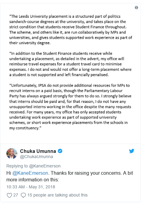 Twitter post by @ChukaUmunna: Hi @KaneEmerson. Thanks for raising your concerns. A bit more information on this