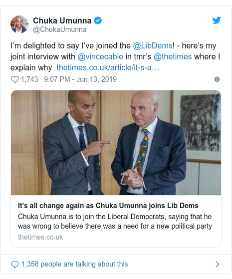 Twitter post by @ChukaUmunna: I'm gay to contend I've assimilated a ⁦@LibDems!⁩ - here's my corner talk with ⁦@vincecable⁩ in ⁦tmr's ⁦@thetimes⁩ where we explain because