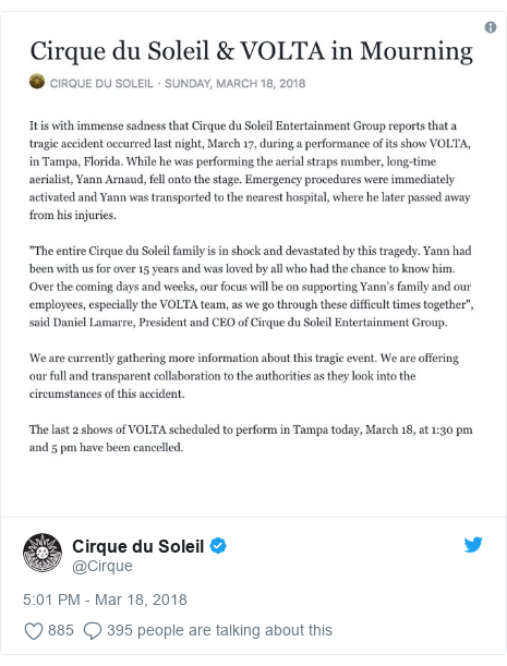 Twitter post by @Cirque:
