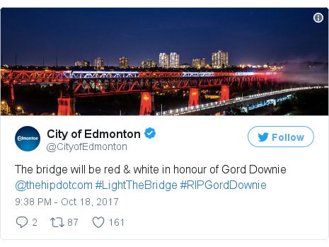 Twitter post by @CityofEdmonton: The bridge will be red & white in honour of Gord Downie @thehipdotcom #LightTheBridge #RIPGordDownie