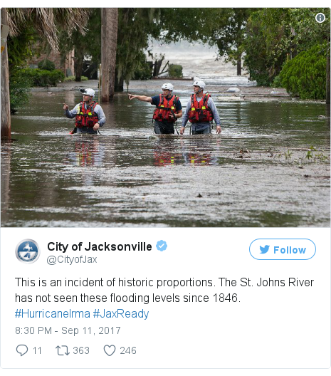 Twitter post by @CityofJax: This is an incident of historic proportions. The St. Johns River has not seen these flooding levels since 1846. #HurricaneIrma #JaxReady pic.twitter.com/8awsM7lvGy