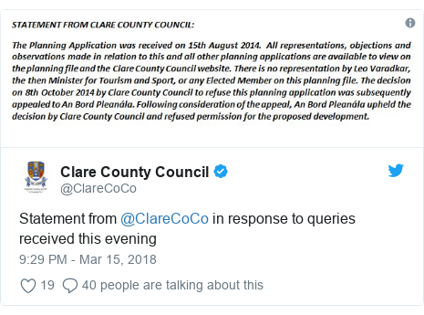 Twitter post by @ClareCoCo: Statement from @ClareCoCo in response to queries received this evening