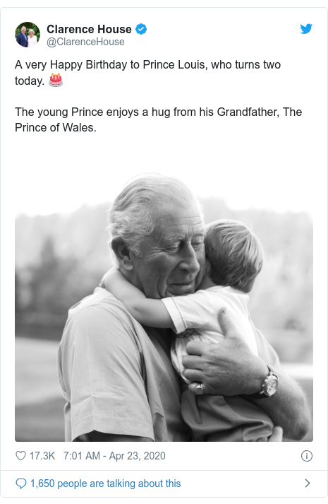 Twitter post by @ClarenceHouse: A very Happy Birthday to Prince Louis, who turns two today. 🎂 The young Prince enjoys a hug from his Grandfather, The Prince of Wales.