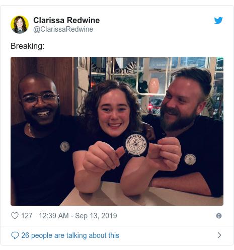 Twitter post by @ClarissaRedwine: Breaking