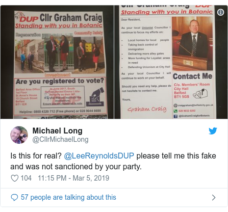 Twitter post by @CllrMichaelLong: Is this for real? @LeeReynoldsDUP please tell me this fake and was not sanctioned by your party.