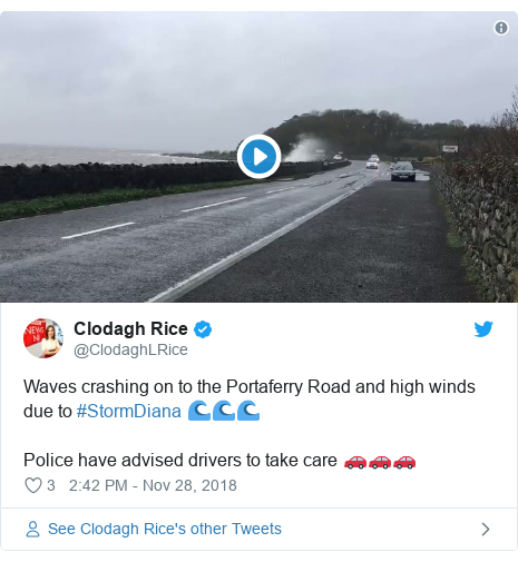 Twitter post by @ClodaghLRice: Waves crashing on to the Portaferry Road and high winds due to #StormDiana 🌊🌊🌊Police have advised drivers to take care 🚗🚗🚗
