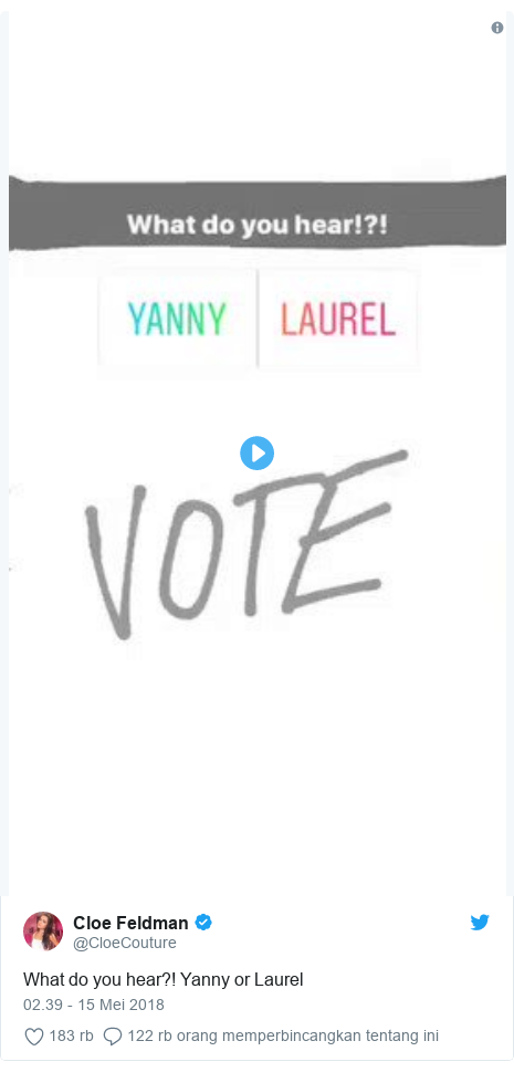 Twitter pesan oleh @CloeCouture: What do you hear?! Yanny or Laurel