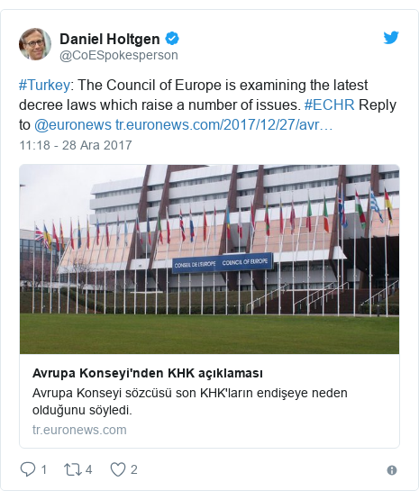 @CoESpokesperson tarafından yapılan Twitter paylaşımı: #Turkey  The Council of Europe is examining the latest decree laws which raise a number of issues. #ECHR Reply to @euronews