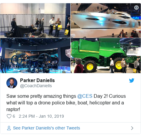 Twitter post by @CoachDaniells: Saw some pretty amazing things @CES Day 2! Curious what will top a drone police bike, boat, helicopter and a raptor!