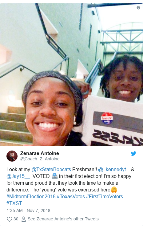 Twitter post by @Coach_Z_Antoine: Look at my @TxStateBobcats Freshman!! @_kennedyt_  & @Jay15__  VOTED 🗳 in their first election! I'm so happy for them and proud that they took the time to make a difference. The 'young' vote was exercised here🤗 #MidtermElection2018 #TexasVotes #FirstTimeVoters #TXST