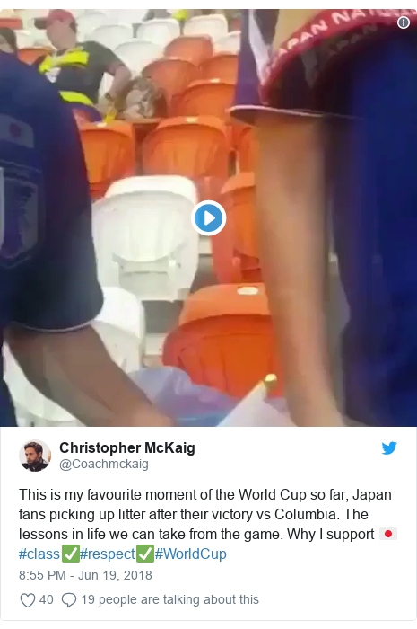 Twitter post by @Coachmckaig: This is my favourite moment of the World Cup so far; Japan fans picking up litter after their victory vs Columbia. The lessons in life we can take from the game. Why I support 🇯🇵 #class✅#respect✅#WorldCup