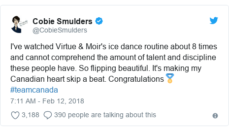 Twitter post by @CobieSmulders: I've watched Virtue & Moir's ice dance routine about 8 times and cannot comprehend the amount of talent and discipline these people have. So flipping beautiful. It's making my Canadian heart skip a beat. Congratulations🏅#teamcanada