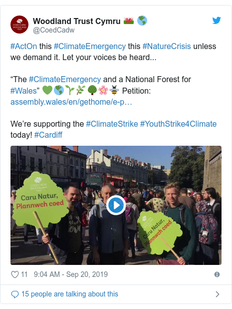 "Twitter post by @CoedCadw: #ActOn this #ClimateEmergency this #NatureCrisis unless we demand it. Let your voices be heard... ""The #ClimateEmergency and a National Forest for #Wales"" 💚🌎🌱🌿🌳🌸🐝 Petition  We're supporting the #ClimateStrike #YouthStrike4Climate today! #Cardiff"