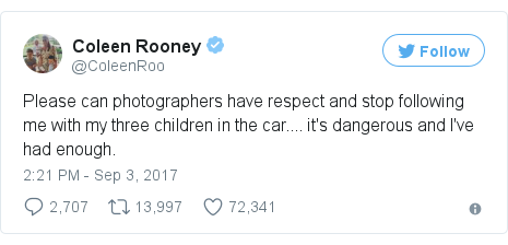 Twitter post by @ColeenRoo: Please can photographers have respect and stop following me with my three children in the car.... it's dangerous and I've had enough.