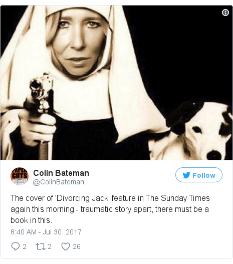 Twitter post by @ColinBateman: The cover of 'Divorcing Jack' feature in The Sunday Times again this morning - traumatic story apart, there must be a book in this.