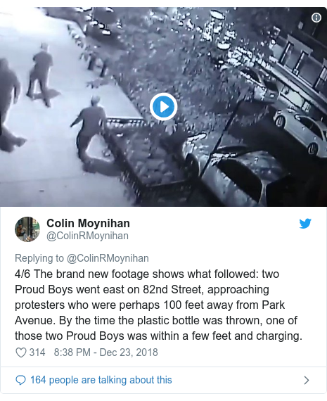Twitter post by @ColinRMoynihan: 4/6 The brand new footage shows what followed  two Proud Boys went east on 82nd Street, approaching protesters who were perhaps 100 feet away from Park Avenue. By the time the plastic bottle was thrown, one of those two Proud Boys was within a few feet and charging.