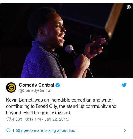 Twitter post by @ComedyCentral: Kevin Barnett was an incredible comedian and writer, contributing to Broad City, the stand-up community and beyond. He'll be greatly missed.