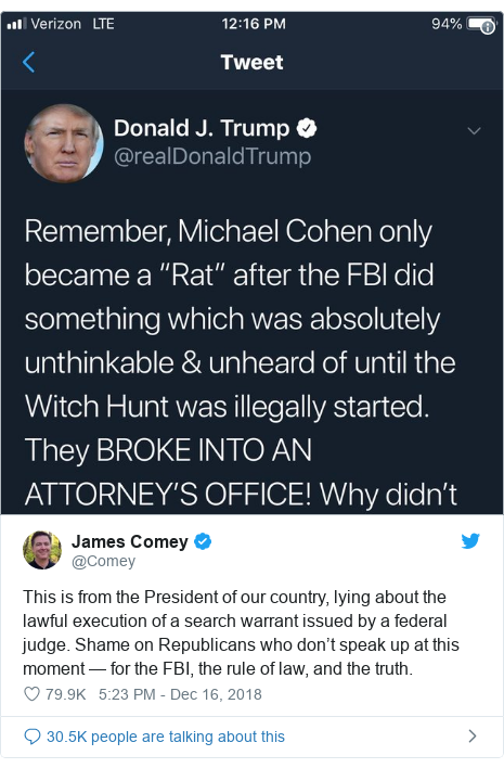 Twitter post by @Comey: This is from the President of our country, lying about the lawful execution of a search warrant issued by a federal judge. Shame on Republicans who don't speak up at this moment — for the FBI, the rule of law, and the truth.