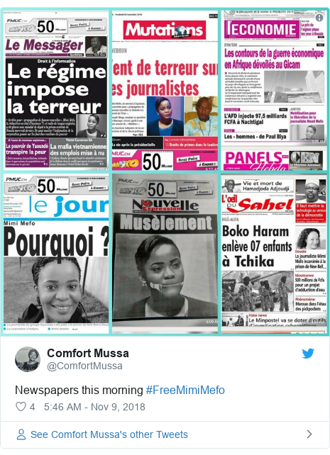 Twitter post by @ComfortMussa: Newspapers this morning #FreeMimiMefo