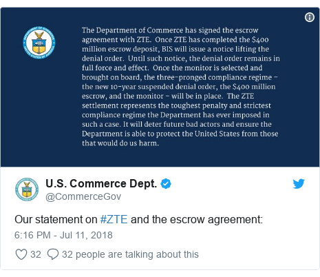 Twitter post by @CommerceGov: Our statement on #ZTE and the escrow agreement