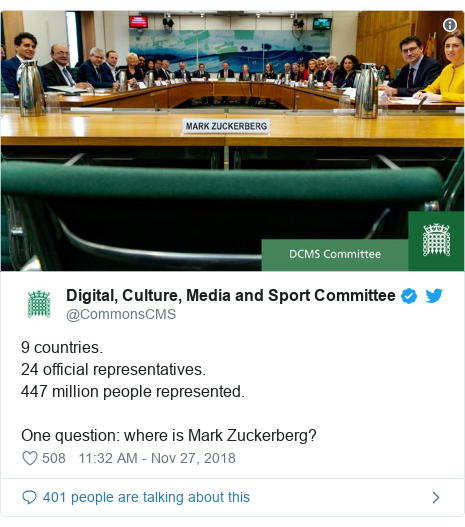 Twitter post by @CommonsCMS: 9 countries.24 official representatives.447 million people represented.One question  where is Mark Zuckerberg?