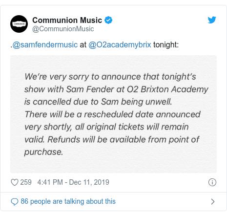 Twitter post by @CommunionMusic: .@samfendermusic at @O2academybrix tonight