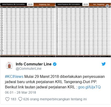 Twitter pesan oleh @CommuterLine: #KCINews Mulai 29 Maret 2018 diberlakukan penyesuaian jadwal baru untuk perjalanan KRL Tangerang-Duri PP. Berikut link tautan jadwal perjalanan KRL