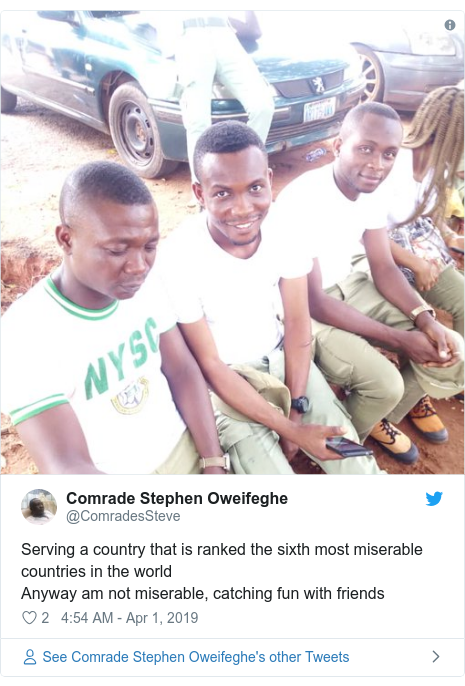 Twitter post by @ComradesSteve: Serving a country that is ranked the sixth most miserable countries in the world Anyway am not miserable, catching fun with friends