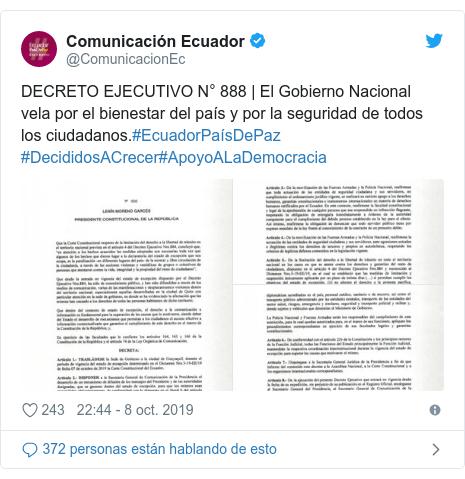 Publicación de Twitter por @ComunicacionEc: DECRETO EJECUTIVO N° 888 | El Gobierno Nacional vela por el bienestar del país y por la seguridad de todos los ciudadanos.#EcuadorPaísDePaz #DecididosACrecer#ApoyoALaDemocracia