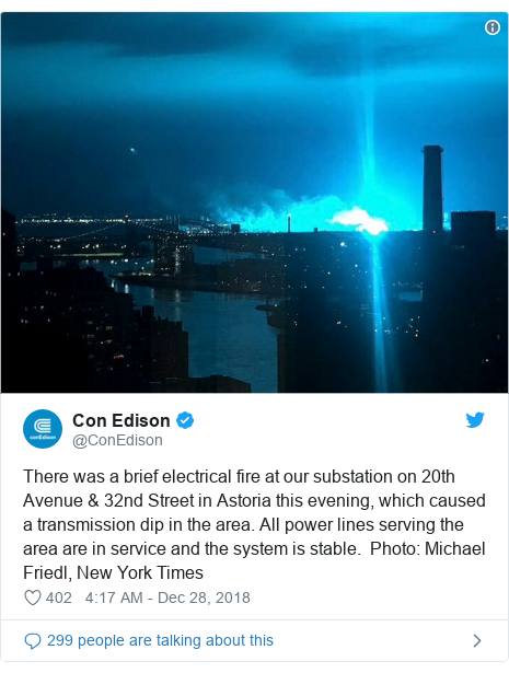 Twitter post by @ConEdison: There was a brief electrical fire at our substation on 20th Avenue & 32nd Street in Astoria this evening, which caused a transmission dip in the area. All power lines serving the area are in service and the system is stable.  Photo  Michael Friedl, New York Times