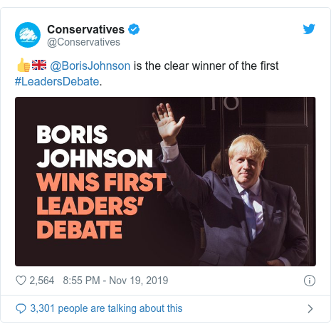 Twitter post by @Conservatives: 👍🇬🇧 @BorisJohnson is the clear winner of the first #LeadersDebate.
